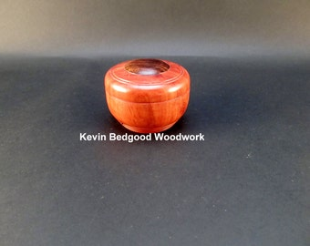 Box Lidded Container Australian Jarrah hand turned with Rosewood insert, jewelry