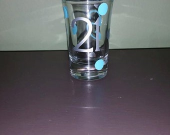 21st Birthday Shot Glass with Initial; Birthday; Celebration; Present