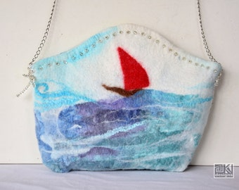 Blue and White Purse, Red sailing boat, Wet felted bag, Blue Seaside handbag, Hand felted purse, Turquoise Handbag,Summer outfit clutch