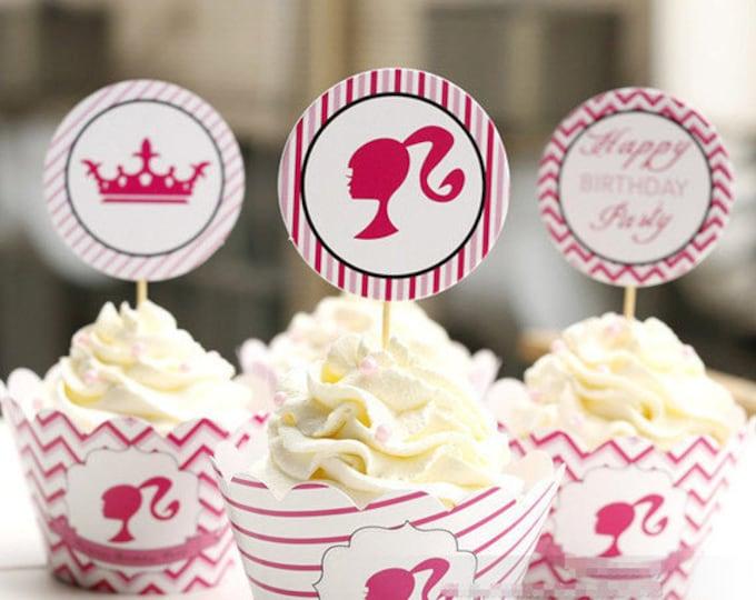12 pc + 12 pc Barbie Cupcake Wrapper & Topper Picks Set
