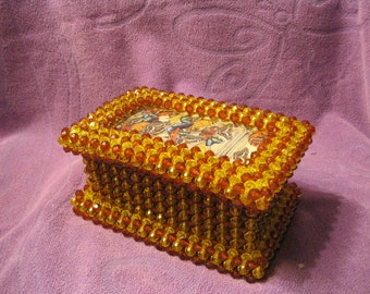 BEADED JEWELRY BOX--Brown and Gold