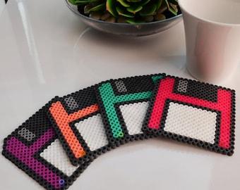 Floppy Disk Perler Bead Coasters (Set of 4)