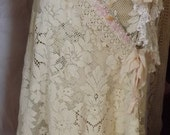 Shabby Elegance Up-cycled Wedding Skirt Cowgirl Glam Barn Wedding Chic Bohemian Couture