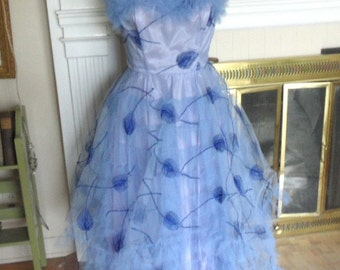 1950's embroidered blue tulle prom dress , strapless , layered / vintage evening wear gown