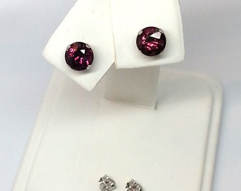 1.50ctw 14kt White Gold 6mm Round Pink Purple Tourmaline Earrings