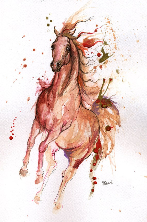 Arabian horse original watercolor painting