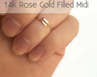 Rose Gold Midi Ring - Hammered Midi Ring - 14k Rose Gold Filled Midi - Rose Gold Knuckle Ring - Gold Fingertip Ring - Adjustable - Valentine