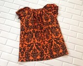 Halloween Dress 3T Pumpkin Damask Ready To Ship Orange and Black Boutique Clothing By Lucky Lizzy's