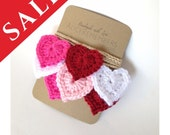 SALE 20% Set of 3 Crochet heart garland, Valentine garland, crochet hearts, nursery garland, love decor, mother's day, red pink garland
