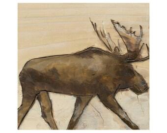 Wooden Moose Art Print, Moose Art, Home Decor, thepaintedgrove