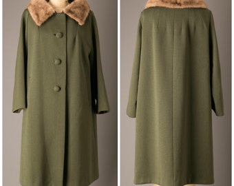 Olive Green Winter Coat with Mink Fur Collar