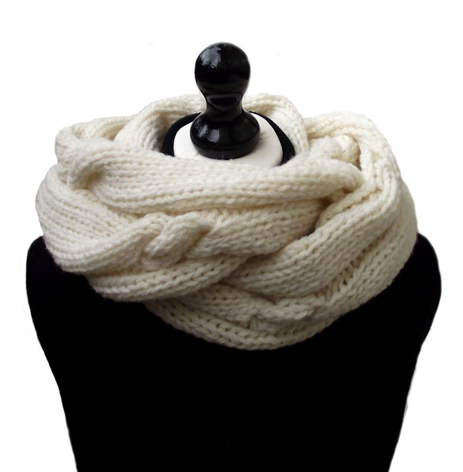 Cable Knit Infinity Scarf Knitting Pattern : Knit Scarf Infinity Scarf Cream Scarf Cable Knit Scarf by ...