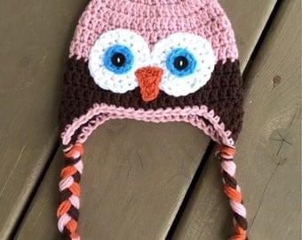 Girl Owl Hat, Infant Owl Hat, Crochet Kids Hat, Crochet Owl Hat, Baby Girl Hat,  Toddler Owl Hat, Newborn Photo Prop