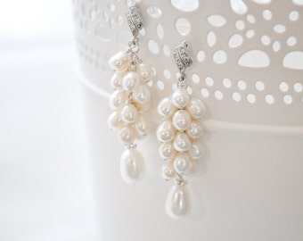 Bridal Earrings, Freshwater Pearl Bridal Earrings, Wedding Earrings, Bridal Jewelry, Pearl Jewellery