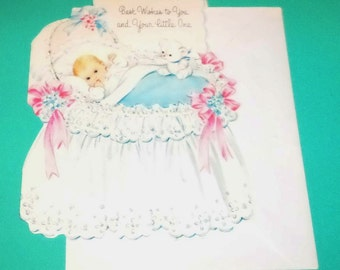 New Baby Card 1950's Adorable Die Cut and Glittery SWEET