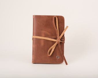 Womens leather pocket notebook, MINI Patent brown or Lizard embossed leather brown