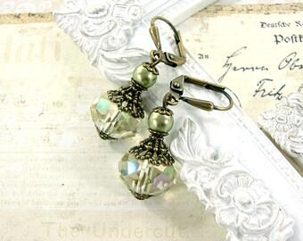 Light Green Swarovski Crystal Earrings - Vintage Style Rondelle Earrings - Bronze Jewelry Luminous Green Antique Style Victorian Earrings