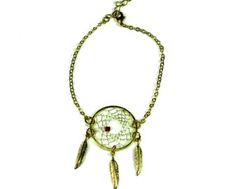 Dream Catcher Bracelet Silver or Gold ( Pick  your Crystal Color)
