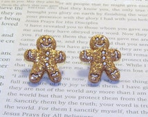 Christmas Gingerbread Man/Boy Stud Earrings, Clips-On Available, Christmas Earrings, Gingerbread Jewelry, Holiday Earrings, Holiday Jewelry