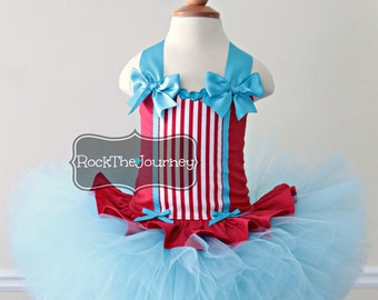 Red Turquoise Carnival Baby Big Top Circus Tutu Costume - Ring Leader - Lion Tamer - Clown Birthday Dress Halloween