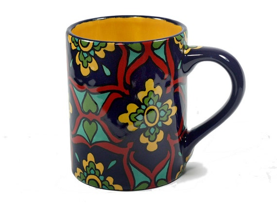 Cobalt Blue Red Amp Yellow Talavera Style Mug Coffee Cup