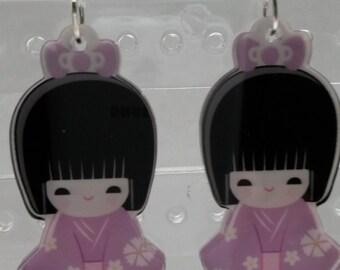 Cute kawaii purple Japanese girl earrings, doll earrings, geisha earrings