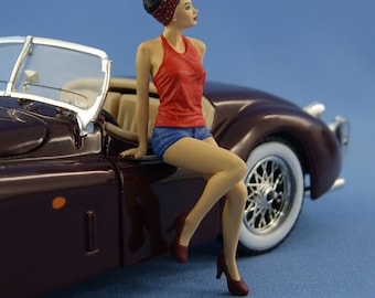 1/24 Handpainted Pinup girl sitting on the hood - figure for die-cast car models