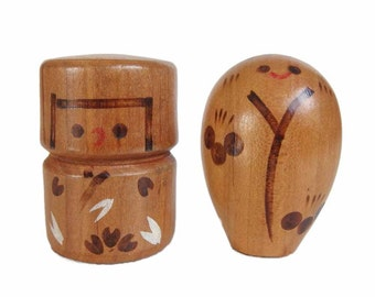 Vintage Kokeshi Dolls. Super Cute. Kawaii! Pyrographic Detailing. Handmade. Wooden Dolls. Japan.