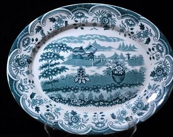 Turquoise platter, English, Blue Large platter, Vintage platter, china, porcelain, England,  Turquoise is very hard to find....#1315