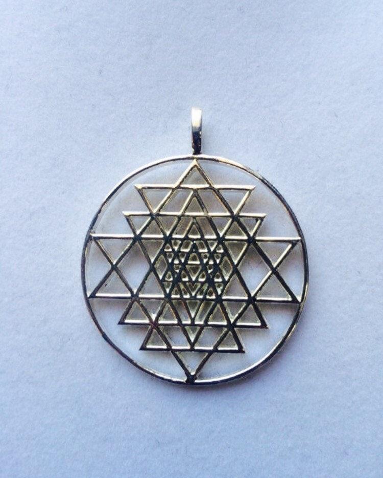 sterling silver sri yantra pendant sacred geometry