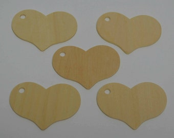 """2-5/16"""" Wood Heart Gift Tags - Set of 5 - Unfinished Wood Hearts - 1/8"""" Thick - Heart Memory Tag - Wooden Heart Tag - Wedding Tag - Wood Tag"""