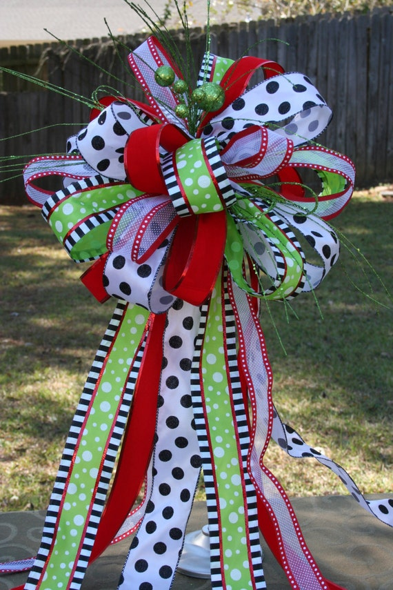 Christmas Tree Topper Minnie Mouse Bow Disney Inspired Bow