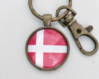 Denmark Flag Key Chain Bag Charm KC132
