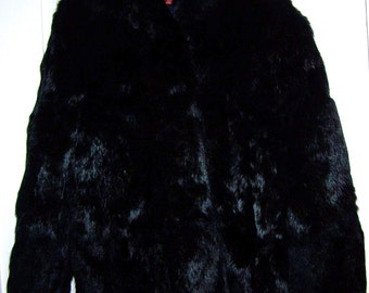 Vintage  Retro Black Rabbit Fur  Jacket  Size Women's  Large