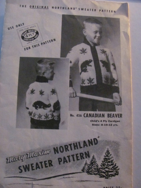 Mary Maxim 456 castor Graph Style Knitting Pattern pour