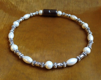 Magnetic Cream Pearl Bracelet, Anklet or Necklace with Vintage Look