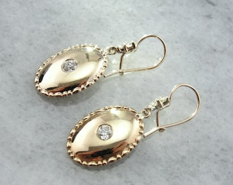 Antique Old Mine Cut Diamond and Fine Gold Drop Earrings 7H0XQZ-R
