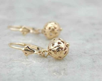 Vintage Filigree Bead Earrings In Yellow Gold THEMC6-N