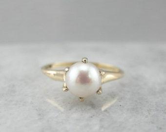 Classic Pearl Solitaire Ladies Ring 2ET76Z-P