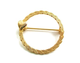 Vintage  Goldtone Sweet Heart Eternity Brooch Pin