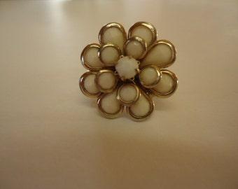 Handmade Flower Ring,  Shabby Chic White Flower Ring, Floral Boho 6 1/2 Ring