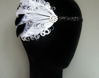 20s Flapper Headband White and Black Feather Headpiece 1920s Fascinator Burlesque Art Deco Pearl Crystal Velvet Ribbon Ties