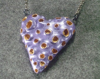 Purple heart with gold craters polymer clay heart necklace