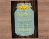 Mason Jar Baby Shower Invitation Digital Download