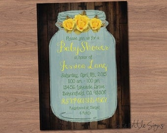 Mason Jar Baby Shower Invitation Digital Download