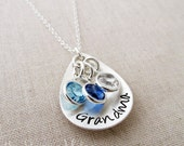Hand Stamped Charm With Mom, Mother, Nana or Grandma,  Necklace With Birthstones