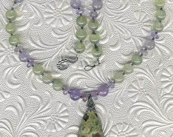 In the Jungle - Rainforest Rhyolite Jasper, Prehnite, Amethyst, Sterling Silver Necklace February Birthstone Valentine Gift