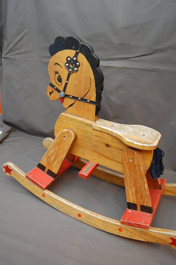 Antique Wooden Rocking Horse Folk Art Primitive Painted Toy