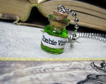 Zombie Virus 0.5ml Glass Bottle Necklace Charm - Cork Vial Pendant - Halloween Walking Dead Goth Poison