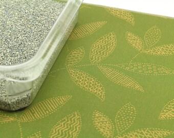 Cat Litter Box Mat, Size Small 12 x 18, Waterproof Food Mat, Splat Mat, Non Slip Mat, Cat Placemat, Dog Placemat, Green with Gold Leaves
